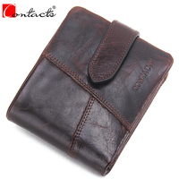 CONTACT S HOT Brand Design Men Wallet Genuine Crazy Horse Cowhide Leather Men Wallet Short Coin