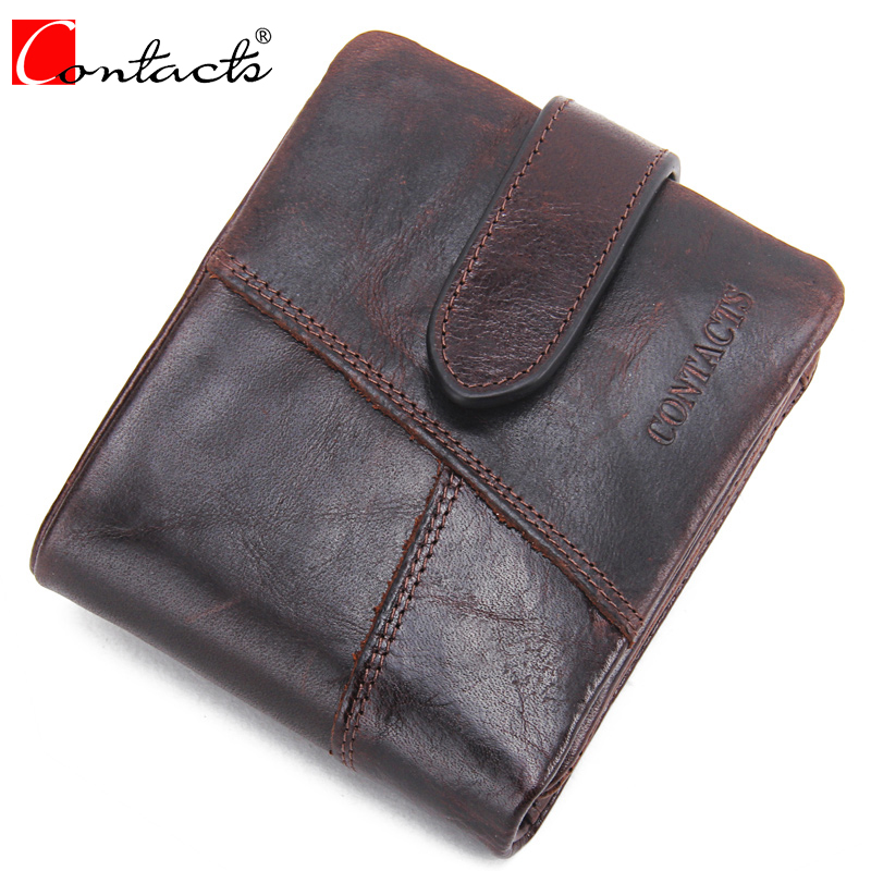 CONTACT'S Hot Sale Men Wallet Genuine Crazy Horse Cowhide Leather Brown Men Wallets Card Holder Coin Pocket Vintage Wallets 2017 crazy horse leather men wallet slim vintage genuine leather long purse cowhide bifold wallets with coin pocket and card holders