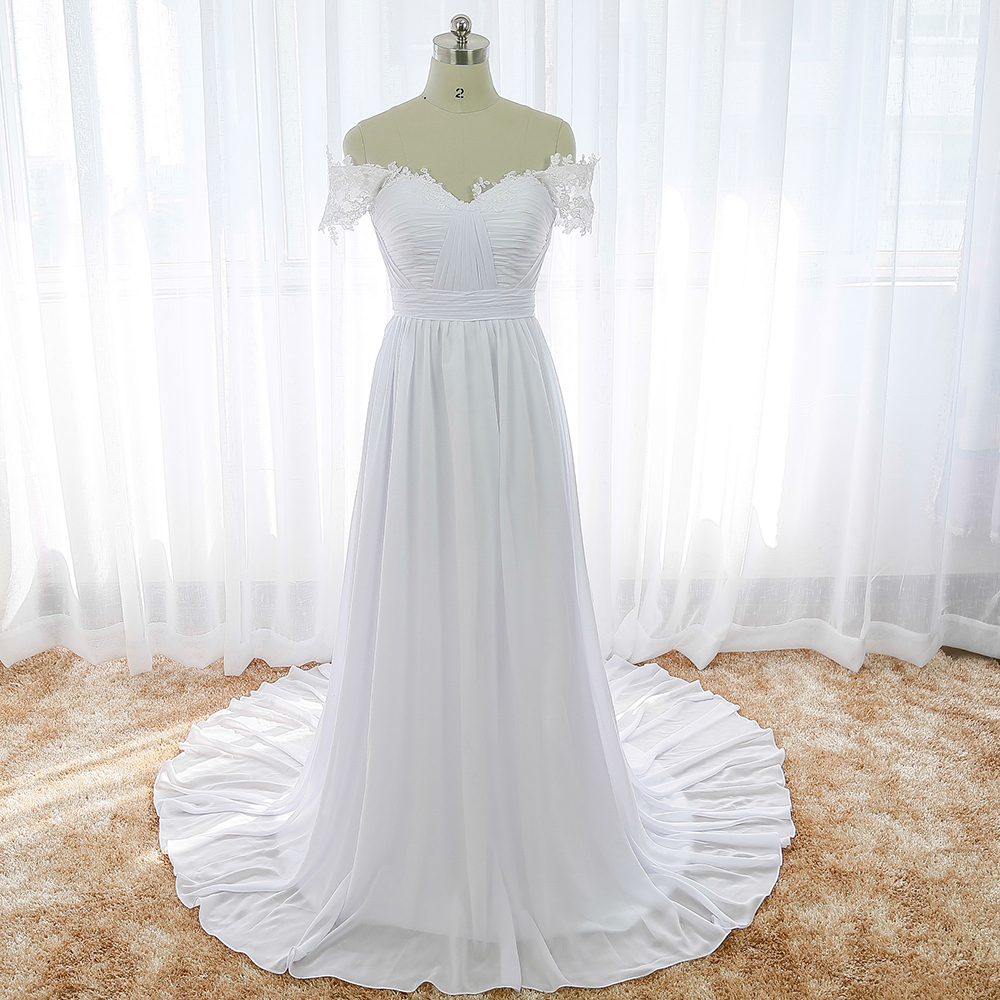 White beach wedding dress off the shoulder cheap indian for Wedding dresses to buy off the rack