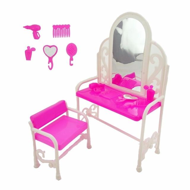 7 stksset plastic klassieke dressoir tafel stoel huis slaapkamer spiegel kam meubels voor barbie