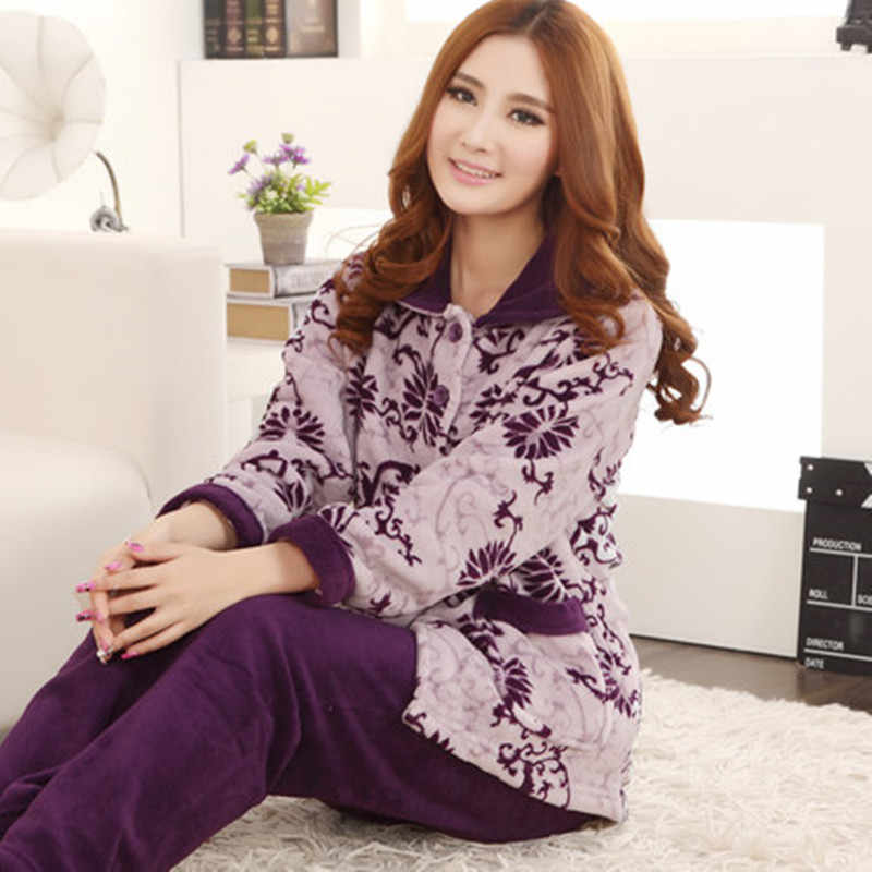 Autumn Casual Soft Women Pajama Sets Flannelette Brushed Cotton Long Sleeve  Cute Cartoon Warm Winter Sleepwear 8ad4e0b6a