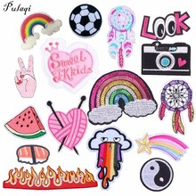 Pulaqi Mix 30 Styles Rainbow Parches Embroidery Iron on Patches for Clothing DIY Foods Stripes Clothes Fruit Sticker Appliques H