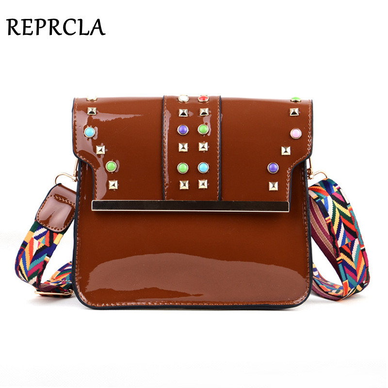 REPRCLA Brand Multicolor Strap Women Shoulder Bag Fashion Rivet Messenger Bags Crossbody for Ladies Patent Leather Women Bags
