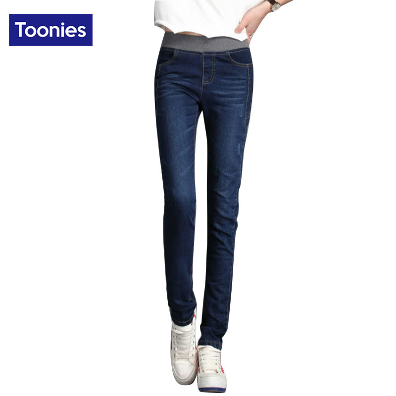 Elastic High Waist Jeans Woman 2017 Autumn Winter Fashion Slim Casual Women Stretch Pants Trousers Denim Blue Plus Size