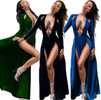 2017 New Sexy Summer Women Sexy Strapless Deep V Split Open Big Dress Solid Color Long