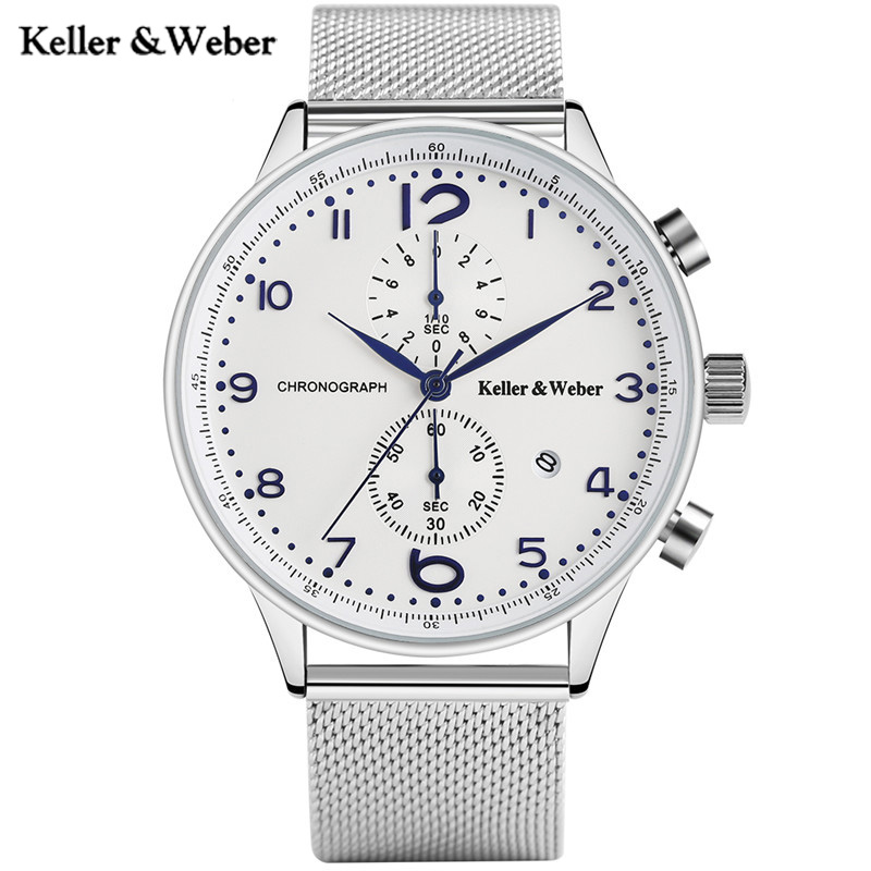 Keller & Weber High Quality Men Quartz Watches Military Sport Chronograph Date Stainless Steel Watchband Luxury KW Watch Male keller