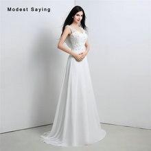 Elegant White A-Line Cowl Back Beaded Lace Wedding Dresses 2017 Formal Women Long Church Bridal Gowns vestido de noiva sereia
