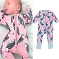 Autumn Spring Newborn Toddler Unisex long sleeve Zipper Romper Infant Babys Boys Girl Parrot Romper Jumpsuit Outfit Set I