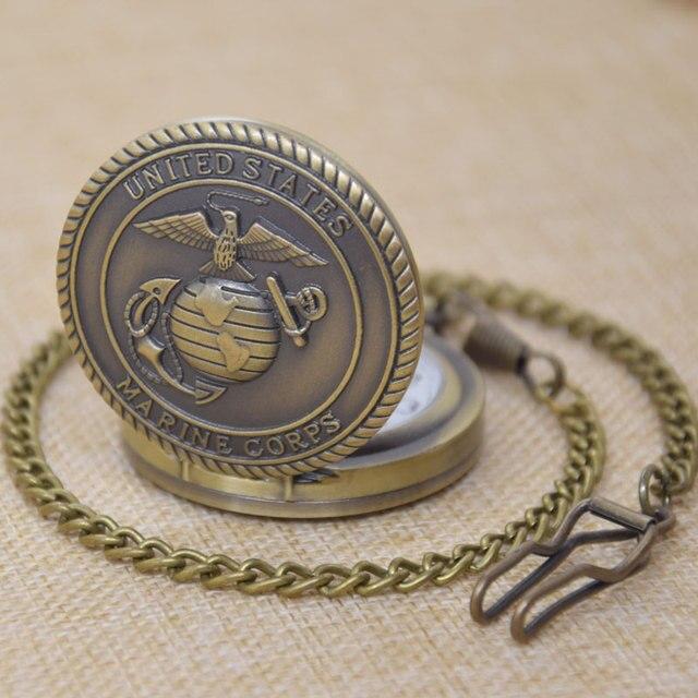 United States Marine Corps Usmc Badge Symbol Bird Map Earth Bronze Quartz Pocket Watch Clock Belt
