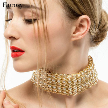 maxi chunky gold chain pearl choker necklace for women 2017 new fashion design metal collar statement necklace jewelry chain