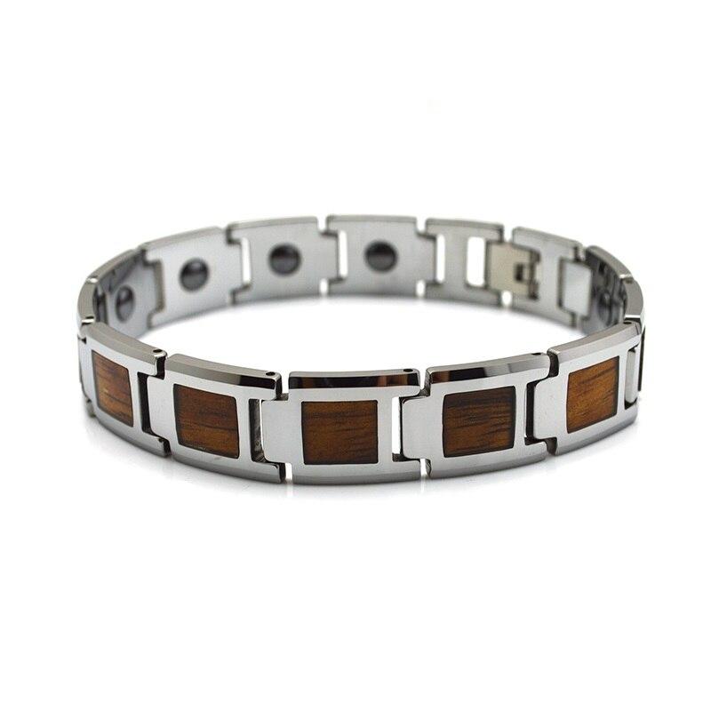 Âme Hommes De Tungstène Bracelets avec des Incrustations En Bois Hommes de Santé Énergie Magnétique Pierre De Luxe Hématite Magnétique Lien Bracelet 8.7 pouce