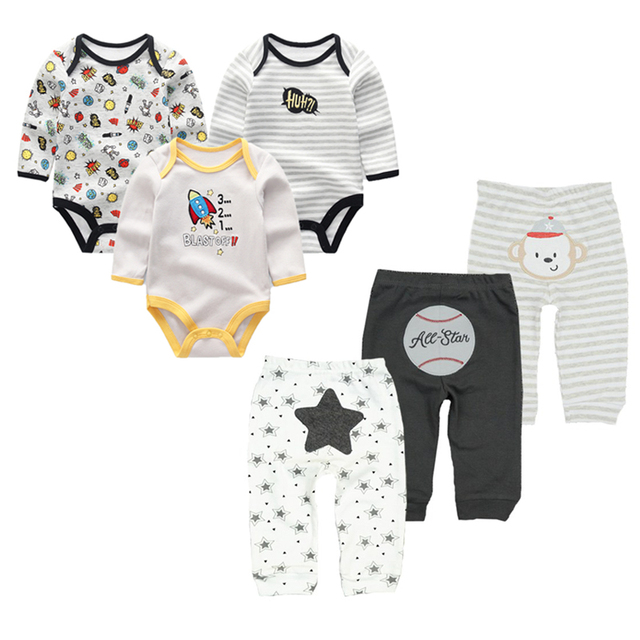 Top Summer Long Sleeve BabyBoy Bodysuit +Pants Newborn Infant Playsuits Baby Boy Girl Clothes sets Cute Cartoon Animal Jumpsuit