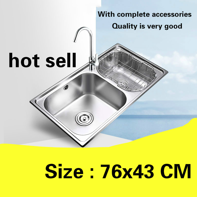 Free Shipping Kitchen Sink Food Grade 304 Stainless Steel Standard Double - Tank Hot Sell 760x430 MM