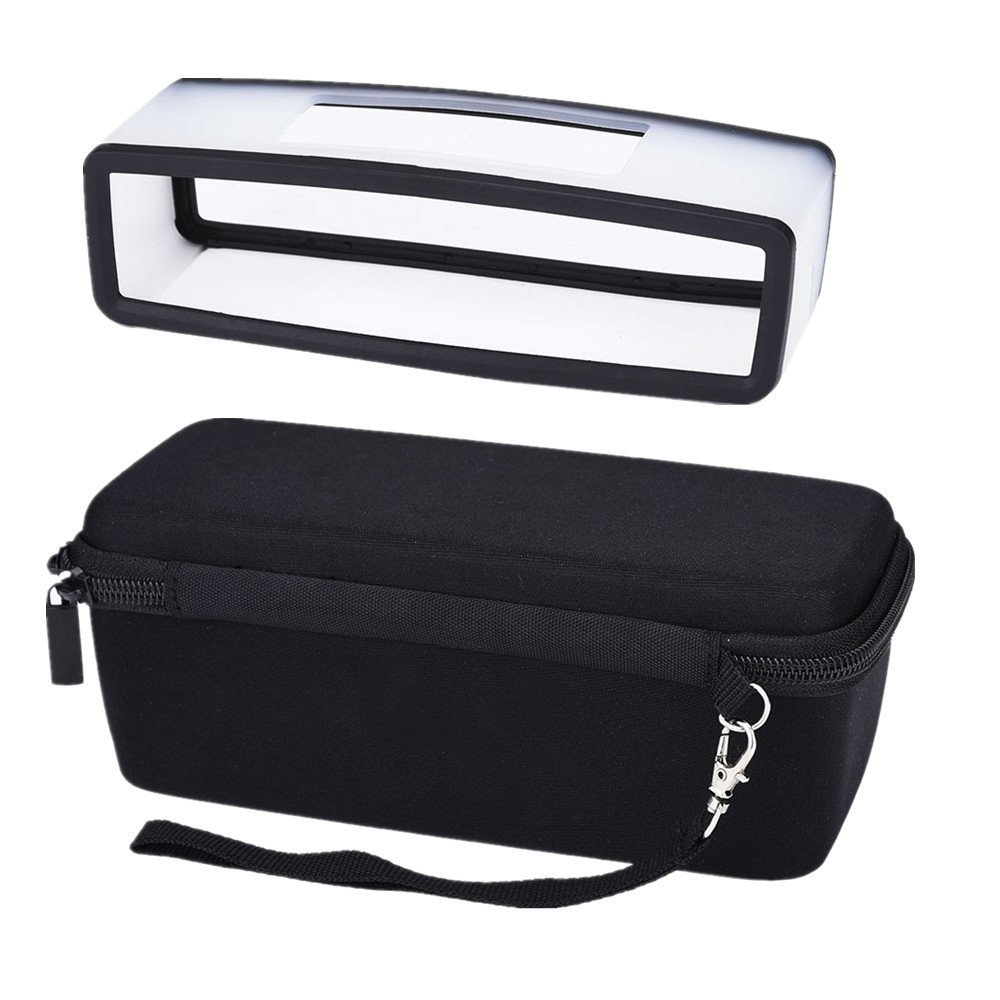 Hard Travel Carrying Case With Black Soft Cover For Bose Soundlink Mini I And Mini II Bluetooth Speaker