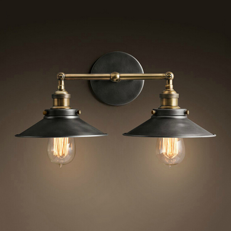 American Pastoral Mediterranean Nordic retro bedroom bedside lamp wall lights double staircase Personalized fashion Wall Lamps