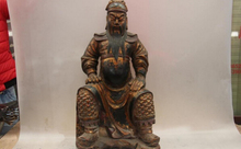 free shipping 150401 S1065 China Old Wood Handmade Carved lacquer with gold design Guan Gong warrior Statue