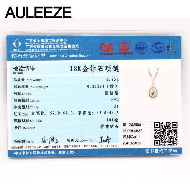 Classic Water Drop Design 0.6cttw Real Diamond Pendant Necklace 18K