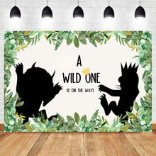 NeoBack Wild Things Baby Shower Backdrop Jungle Safari Backdrops Dessert Table Photographic Props