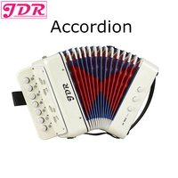 JDR 7 Keys Button White Accordion Musical Instrument Simulation Learning Concertina Rhythm Band keyboard Gift Toys Kids Children
