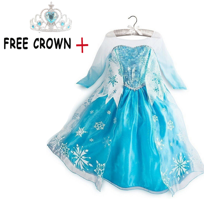 Girls Princess Dress Anna Elsa Costumes Cartoon Role-play Dresses for Baby Girls Christmas Halloween Fancy Party 3-10T Clothing