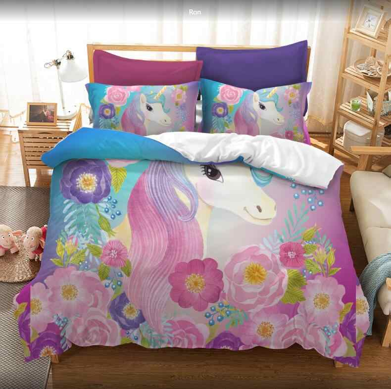 New Pink Cartoon Unicorn Cute Bedding set with Duvet cover and Pillowcases