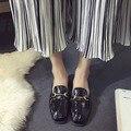 2016 горячей продажи осенью обувь одного на низком каблуке квадратный носок женские туфли на плоской подошве мелкая рот с низким топ-повседневная paltform бесплатная доставка