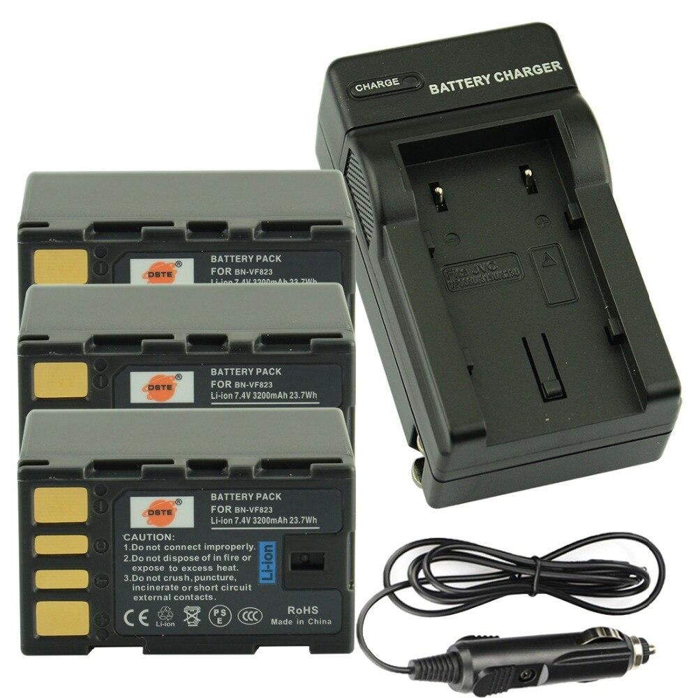 DSTE 3 pièces BN-VF823 batterie Rechargeable + voyage et chargeur de voiture pour JVC GZ-HD3AC GZ-HD6AC GZ-MG330AC MG630AC GZ-MS120AC caméra
