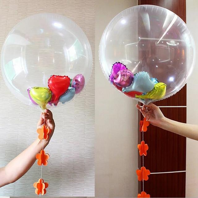 20 unids grande 24 pulgadas lmina transparente globos gigante claro aire helio globo diy confeti boda - Globos Transparentes