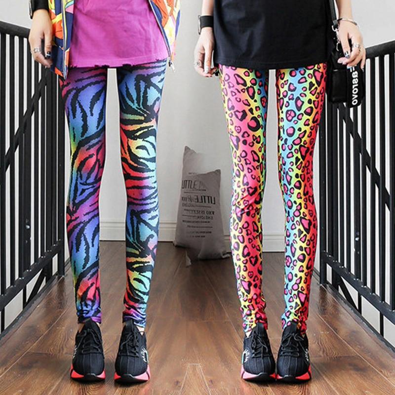 La MaxPa 2019 Fashion Women's Leggings Sexy Lady Pants Neon Leopard Striped High Spandex Leggings Ladies Pants K2094