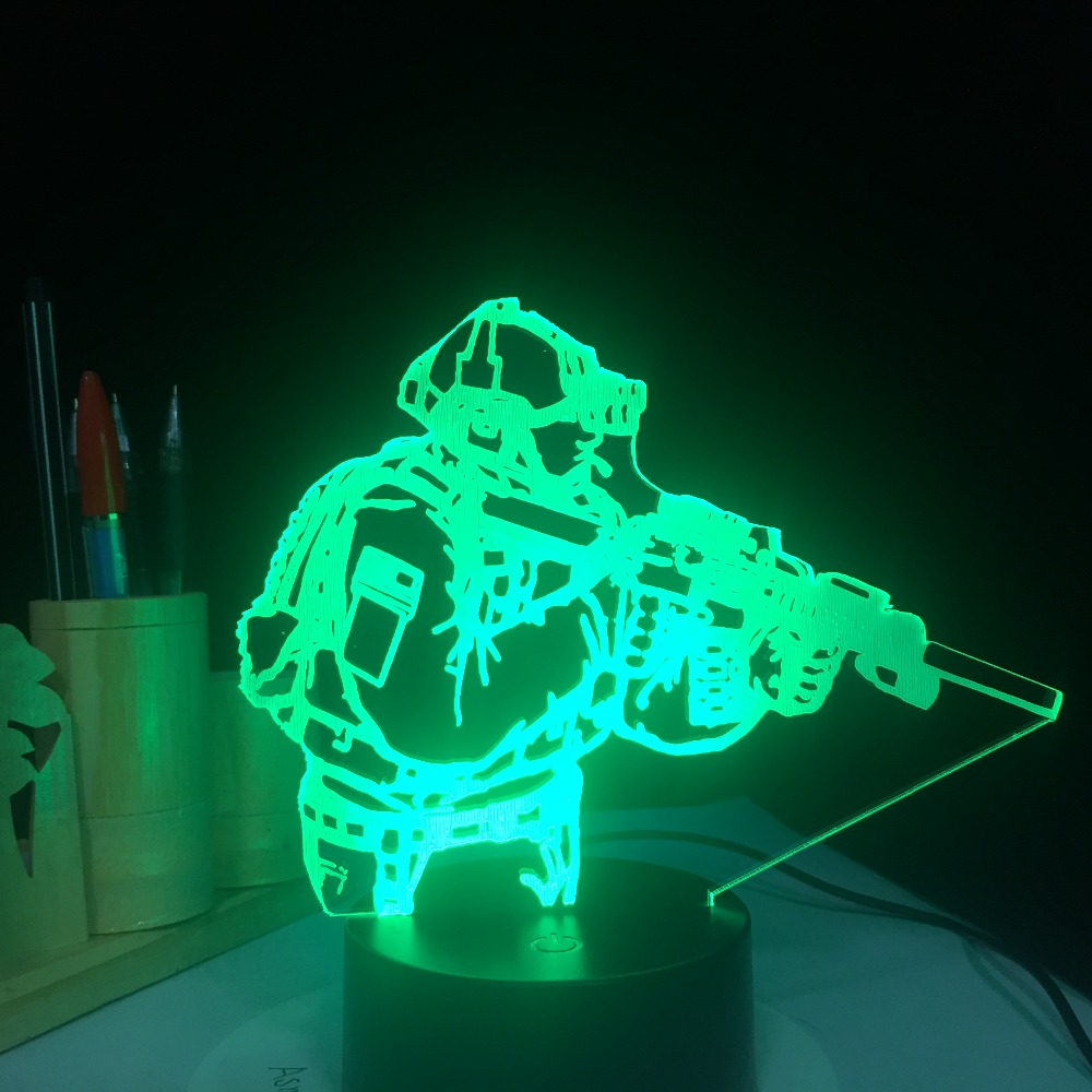 Army Soldier USB 3D Lamp 7 Colors Touch Remote Bedroom ...