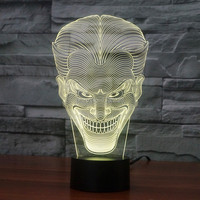 10pcs Lot 7 Color Changing USB Charge Smile Jack Ghost 3D LED Light With 3D Luminaria