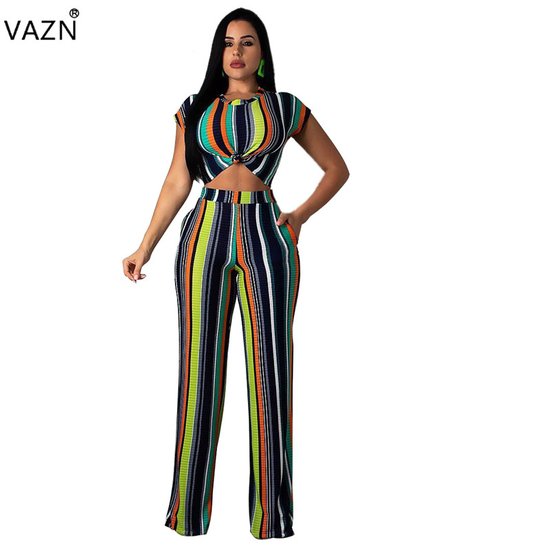 Suits & Sets Vazn 2019 New Arrive Spring Hot Sexy Women 2-pieces Striped Sets Ladies O-neck Short Sleeve Top Wide Leg Long Jumpsuits La3085 Special Buy Women's Clothing