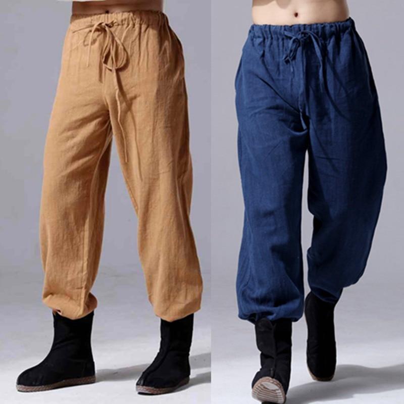2020 Fashion Men Linen Pants Comfortable Male Trousers  Pants Casual Straight Pants Plus Size M-5XL 6XL Black  White Navy Blue