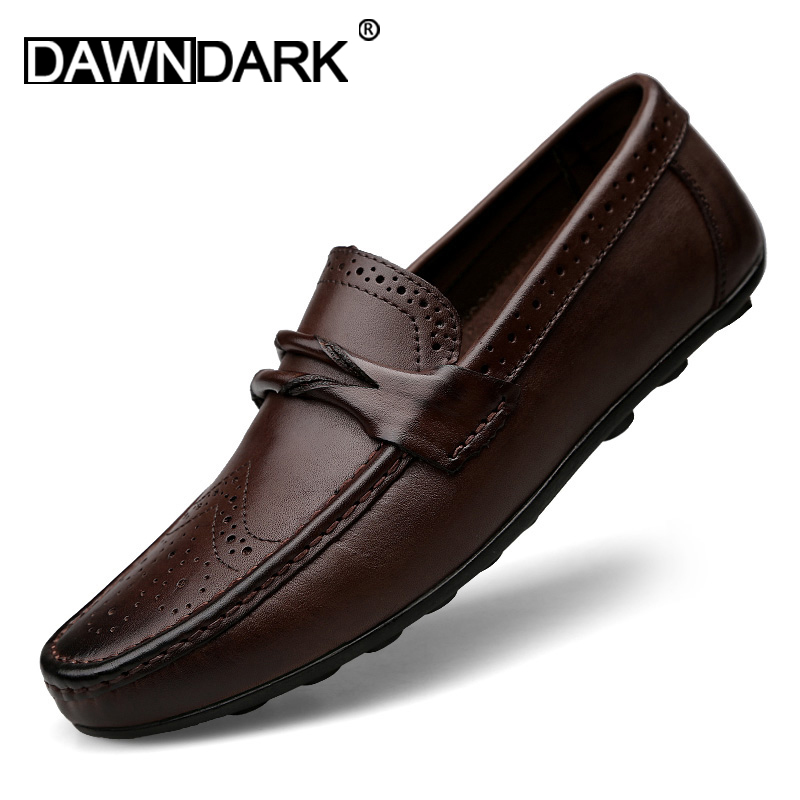 Mens Casual Genuine   Leather   Shoes Spring Summer Men Flat Walking Loafers Black Brown Man Luxury Slip on Boat Shoes Big Size