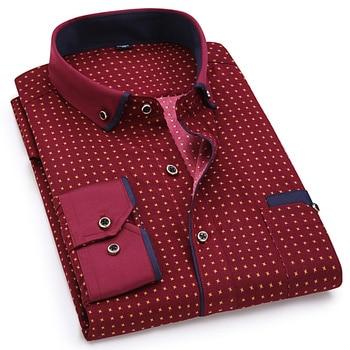Fashion Print Casual Men Long Sleeve Shirt Stitching Fashion Pocket Design Fabric Soft Comfortable Men Dress Slim Fit Style 8XL 4