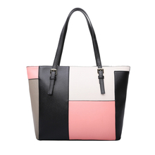 KEYTREND Women Leather Handbag Contrast Shoulder Bag Fashion Patchwork Style Top-Handle Female Casual Totes Bags For Lady KSB190