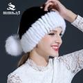 2016 новая зимняя меховая шапка 100% реального норки меховая шапка шапочки cap согреться меховой женский крышка с белым лисий мех мяч