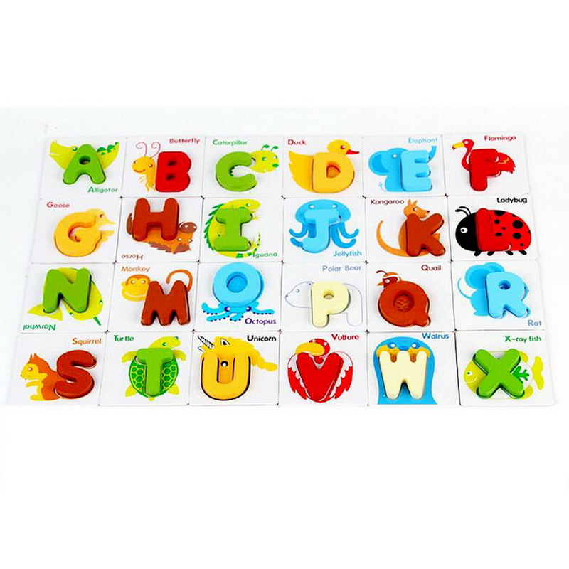 new arrival wooden early education baby toy preschool learning abc alphabet letter cards cognitive toys animal