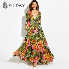 Vintacy Print Long Sleeve Dress Tropical Beach Vintage Maxi Dresses Boho Casual V Neck Belt Lace Up Tunic Draped Plus Size Dress