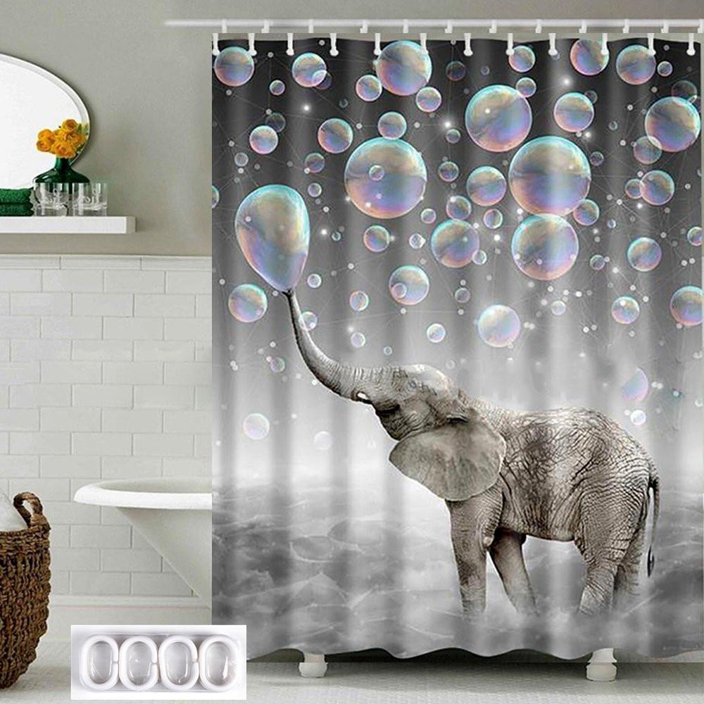 180cm * 180cm 욕실 샤워 커튼 깎아 지른 패널 방수 폴리 에스터 직물 장식 12 후크 코끼리