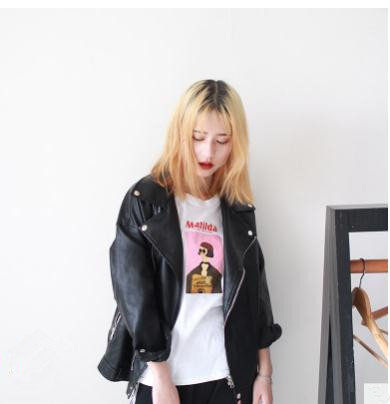 S/L Womens Loose Pu   Leather   Jackets Black Spring And Autumn Short Motorcycle Jacket Fashion Female   Leather   Coats Clothes K1018