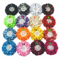 10pcs 8.5CM Glitter Fabric Flowers with Pearl Rhinestone Alloy Buttons Patch Decor Girls Hair Jewelry Headband Head wear Garment