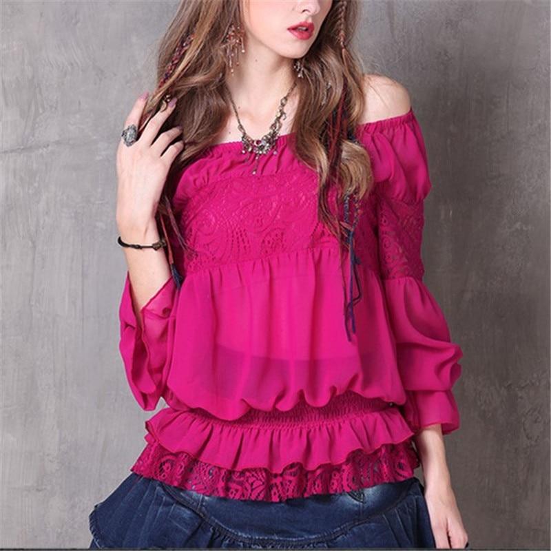 Nueva Cuello 73398 Sexy Photo Las De Volantes Moda Casuales Blusa Camisas Color Chiffon Mujeres Blusas 2019 Vintage Con Patchwork Woherb 18wFqTxE1
