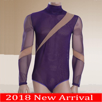 2018 New Sexy Latin Dance Bodysuit For Males Purple Colors Short Sleeves Tops Bodysuit Men Professional