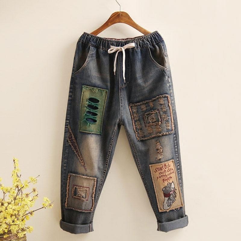 Art Style Patchwork Embroidery Loose Vintage Women Jeans Hole Design Elastic Waist All Cotton Denim Ladies Harem Pants D101