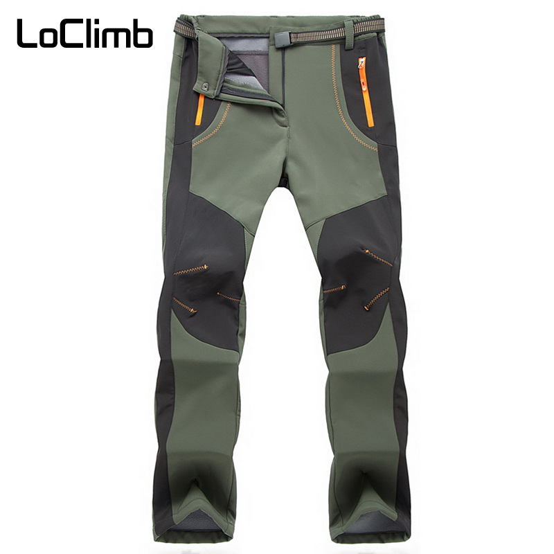 LoClimb Winter Hiking Pants Women Waterproof Outdoor Sports Fleece Softshell Trousers 5XL Camping Trip Trekking Ski Pants AW079