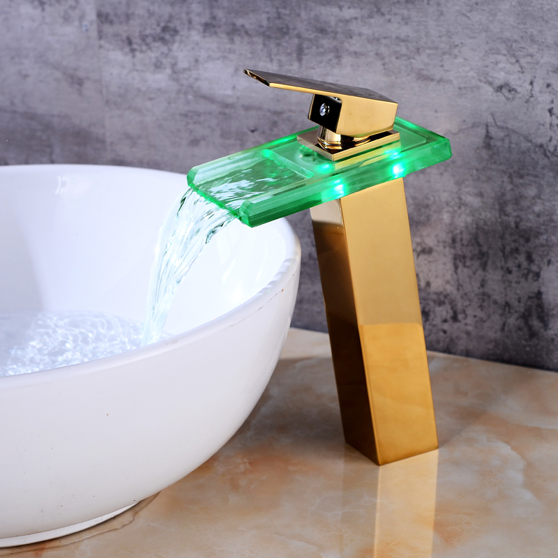 New Sink Tap Temperature Controlled Faucet LED Crane Modern Water Tap Bathroom Waterfall Faucet Bathroom Faucets
