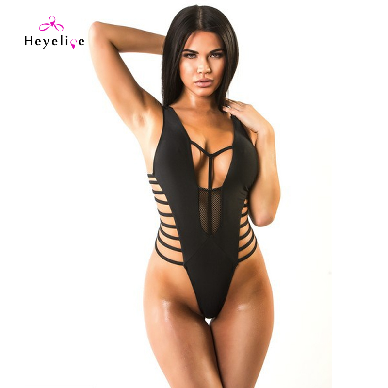 Sexy Thong Swimsuits Hollow One Piece Swimwear Women Beach High Cut Bodysuit Trikini Bathing Suit Black Thong Monokini high neck one piece swimsuit women high cut thong swimwear sexy bandage trikini hollow out mesh bodysuit female zipper monokini
