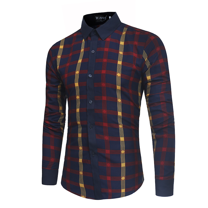 Spring and summer new mens brand fashion color matching lattice long sleeve slim shirt high-quality business casual dress shirt
