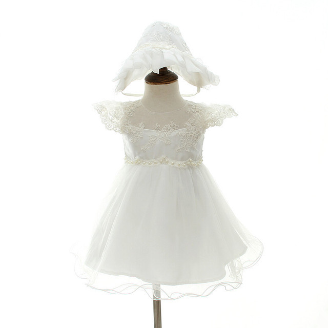 2018 Baby Girl Dress With Hat White 1 Year Old Birthday Party Formal  Vestido Infantil Baptism 182cb2796c28